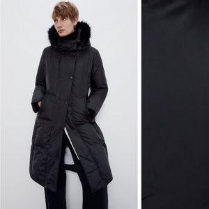 Zara black hooded down puffer